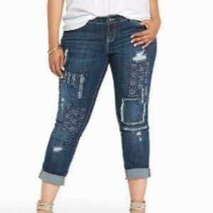 Torrid Boyfriend Patch Embroidery Dark Wash Jeans